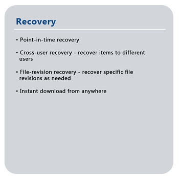 Recovery features